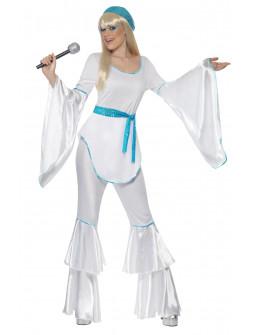 Disfraz de Abba Años 70 Azul y Blanco para Mujer