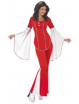 Disfraz de Abba Años 70 Rojo y Blanco para Mujer