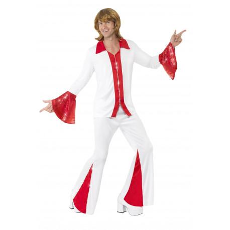 Disfraz de Abba Años 70 Rojo y Blanco para Hombre