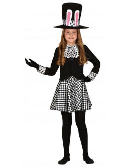 Disfraz de Conejo Sombrerero Oscuro para Niña