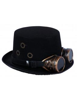 Sombrero Steampunk Negro con Engranajes y Cadena