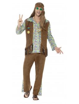 Disfraz de Hippie Psicodélico Marrón para Hombre
