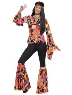 Disfraz de Hippie con Estampado Multicolor para Mujer