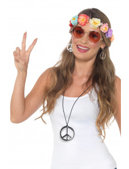 Kit de Hippie con Diadema, Gafas, Collar y Pendientes