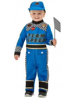 Disfraz de Piloto de Carreras Azul para Bebé