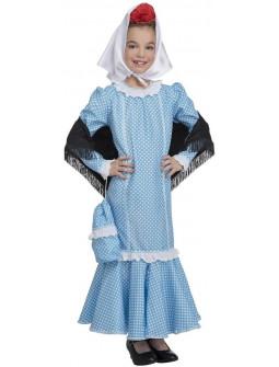 Disfraz de Chulapa Castiza Azul para Niña