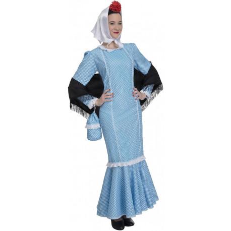 Disfraz de Chulapa Castiza Azul para Adulto