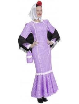 Disfraz de Chulapa Castiza Morado para Adulto
