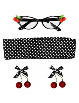 Set Años 50 con Gafas, Pendientes y Pañuelo