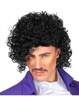 Peluca de Prince Años 80 Morena Rizada