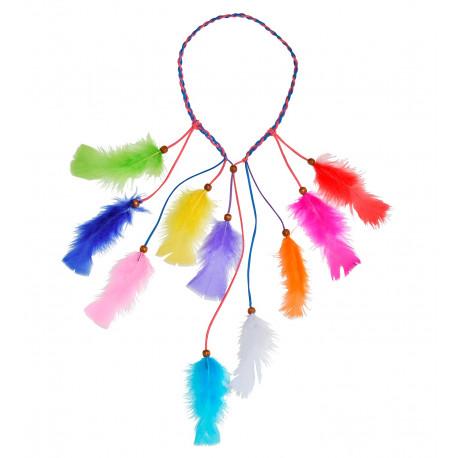 Cinta Hippie para el Pelo con Plumas Multicolor