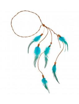Cinta Hippie para el Pelo con Plumas Azul Turquesa