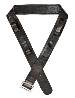 Cinturón Negro de Polipiel con Fundas para Espadas