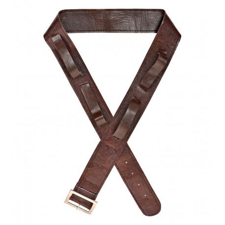 Cinturón Marrón de Polipiel con Fundas para Espadas