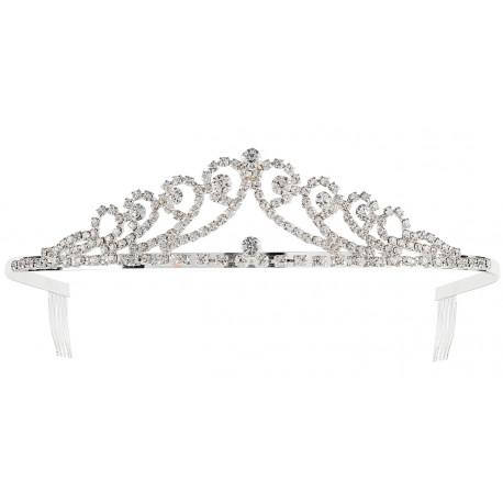Tiara de Princesa Metálica con Pedrería de Strass