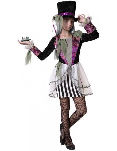 Disfraz de Sombrerera Zombie para Niña