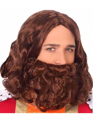 Peluca Castaña con Barba