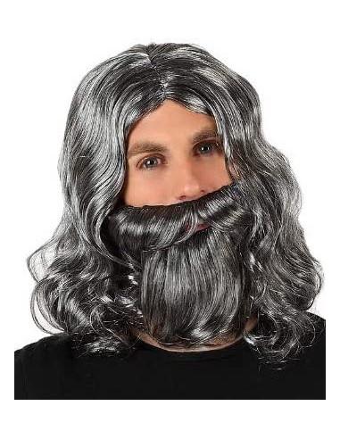 Peluca Gris con Barba
