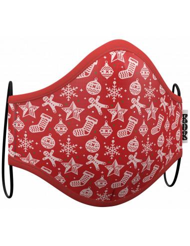 Mascarilla Roja Estampado Navidad...