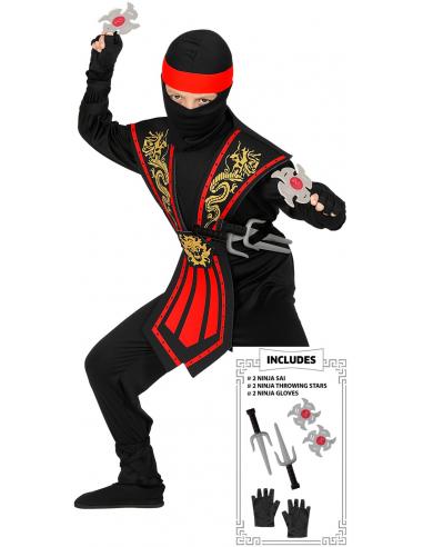 Disfraz de Ninja Rojo con Accesorios...