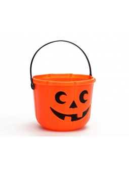 Cubo decorado de calabaza Halloween -