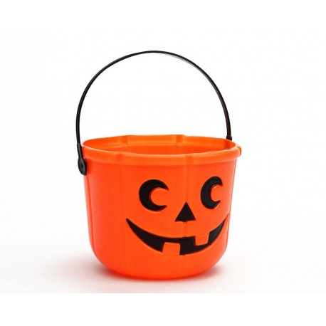 Cubo decorado de calabaza Halloween -