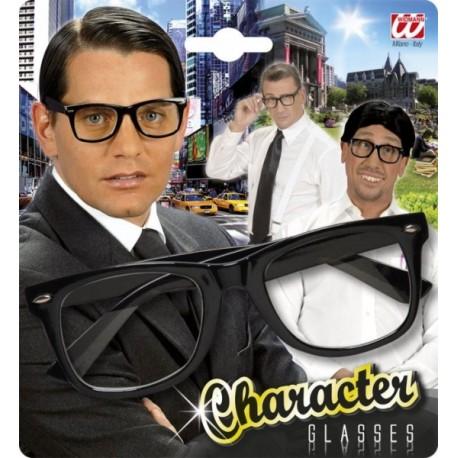 Gafas de pasta negra con cristal transparente