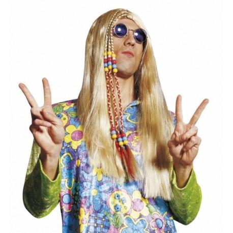 Peluca Hippie Unisex, en rubio o moreno