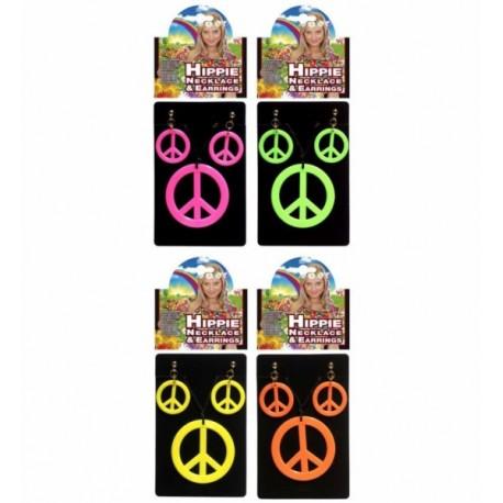 Pendientes y collar hippie, en colores