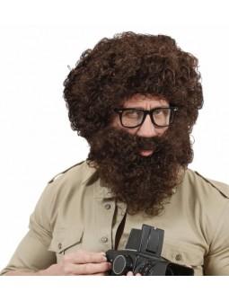 Peluca con Barba Castaña