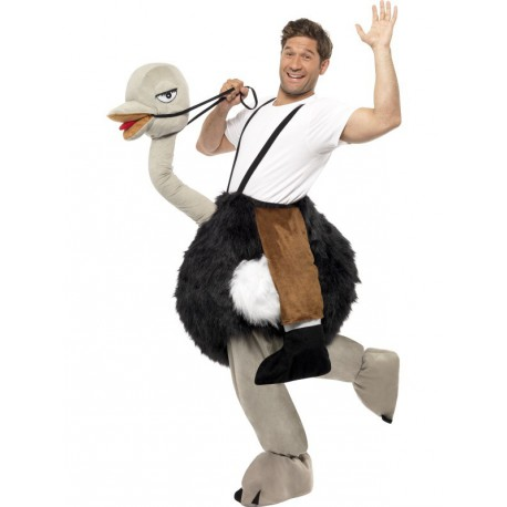 Hombre montado en avestruz