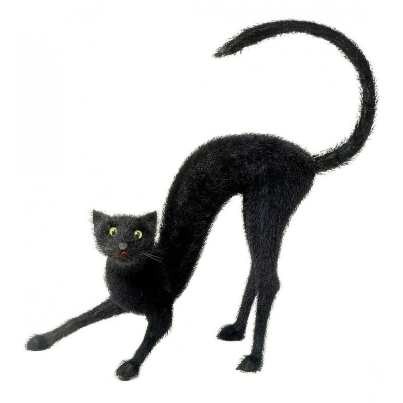Figura de gato negro con pelo tama o gigante El gato negro decoracion