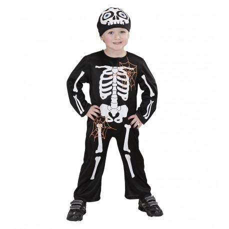 Disfraz de Esqueleto con gorro para niño
