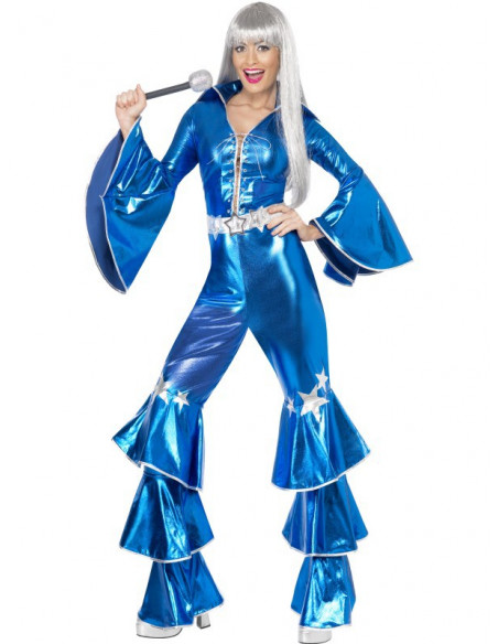 Disfraz Disco en Azul para mujer