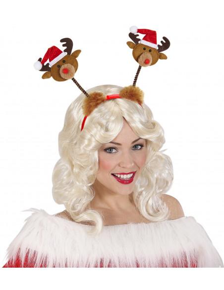 Diadema con renos y gorro de Papa Noel