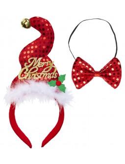 Mini Sombrero Papa Noel con pajarita