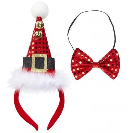 Mini Sombrero Papa Noel con pajarito y cascabeles
