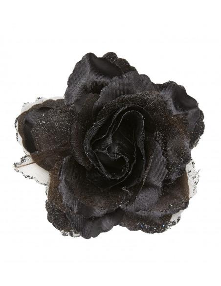 Flores de Tela Negras con Purpurina