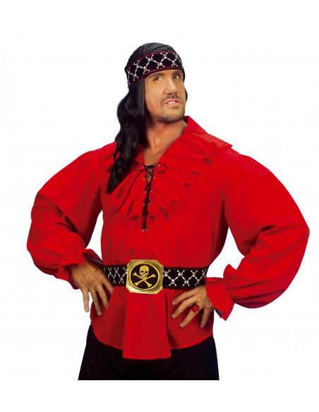 Camisa roja de Pirata para hombre