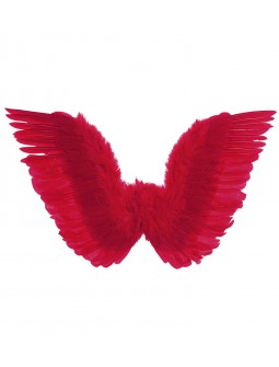 Alas de plumas naturales en rojo