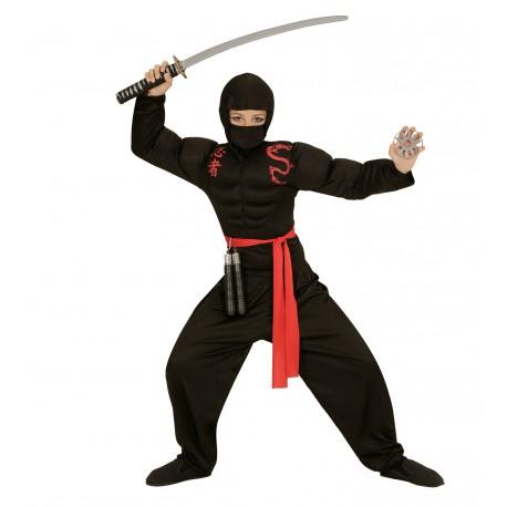 Disfraz de Ninja negro con músculos