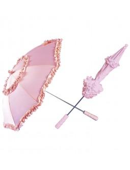 Sombrilla rosa con volantes