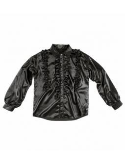 Camisa Negra de raso con Volantes