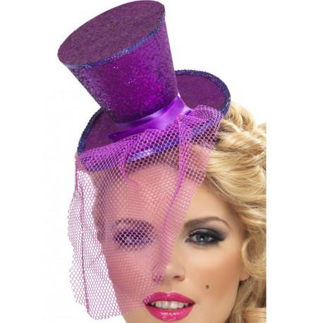 Mini chistera de purpurina Morada