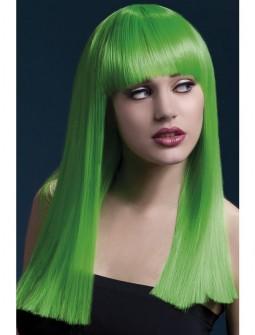 Peluca verde con flequillo - Premium -