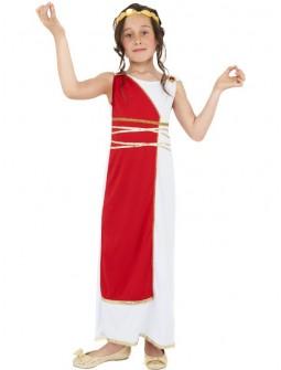Disfraz de Romana con Toga Roja Niña