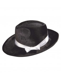 Sombrero de Gangster Negro de Terciopelo