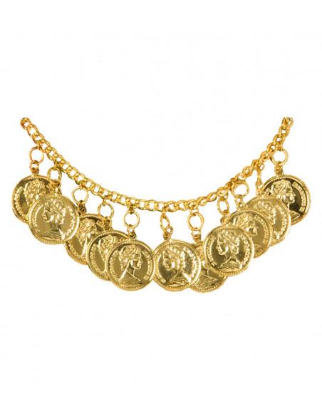 Tobillera con monedas doradas