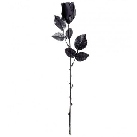 Rosa Negra de tela con tallo