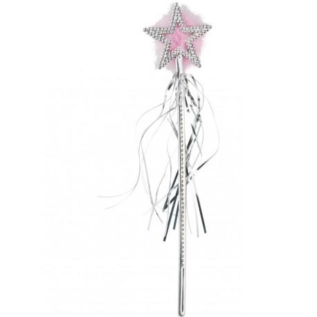 Varita plata con marabú rosa